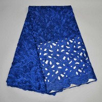 2017 African Blue Dry Lace Fabric High Quality For Cotton Dry Lace Fabric Swiss Voile With