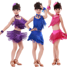 Colors Girl Kids Sequins Latin Dance Dress Children Salsa Ramba Tango Costumes Girls Ballroom Stage Dance Wear Fancy Dress Suits