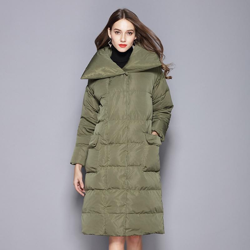 2018 Winter Long Coat Parkas Women Fashion Sleeves Detachable Duck Down Jacket Female Black Thick Warm Outwear Plus Size W107