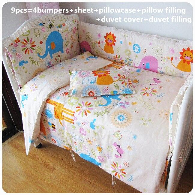2017! 6/7pcs Baby Bedding Set Cartoon Elephant Letters Newborn Crib Bedding Cotton Bumpers Duvet Cover,120*60/120*70cm