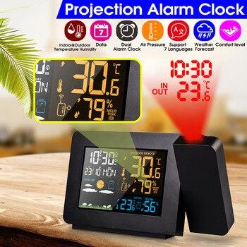 Nueva estación meteorológica de Color con pantalla Meteorológica de proyección DCF Radio Control calendario 7 idiomas reloj despertador con luz de fondo