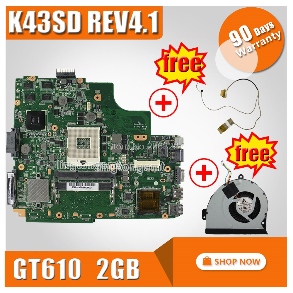SAMXINNO For ASUS K43SD X43S A43SD Laptop Motherboard Rev 4.1 GT610M 2GB USB3.0 N13M-GE1-S-A1 System Board Mainboard 100% Tested new non integrated laptop motherboard for asus k55vd r500vd rev 3 0 gt610m 2gb usb3 0 n13m ge1 s a1 hm76 pga989 ddr3 100