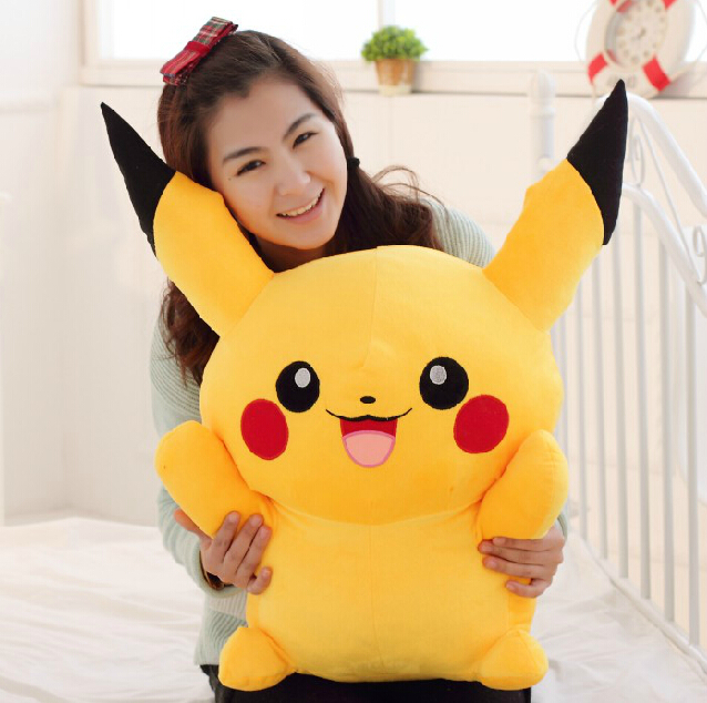 1pc 60cm Stuffed Animal Plush Pikachu Very Cute Stuffed Animal Dolls Children Toys Movie Tv kids Christmas Gift 38cm plush whales toys with soft pp cotton creative stuffed animal dolls cute whales toys fish birthday gift for children