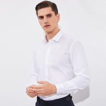 Dress Shirt Business White Long-Sleeve Formal Men's Basic Solid Smart Comfortable Classic-Fit