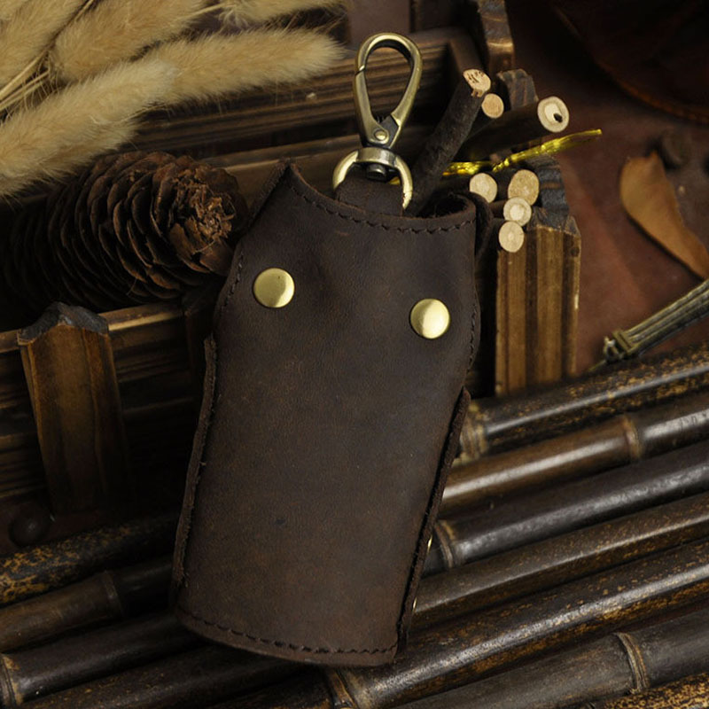 Men Crazy Horse  Leather Car Key Case Bag Keychain Holder Key Loops Pouch