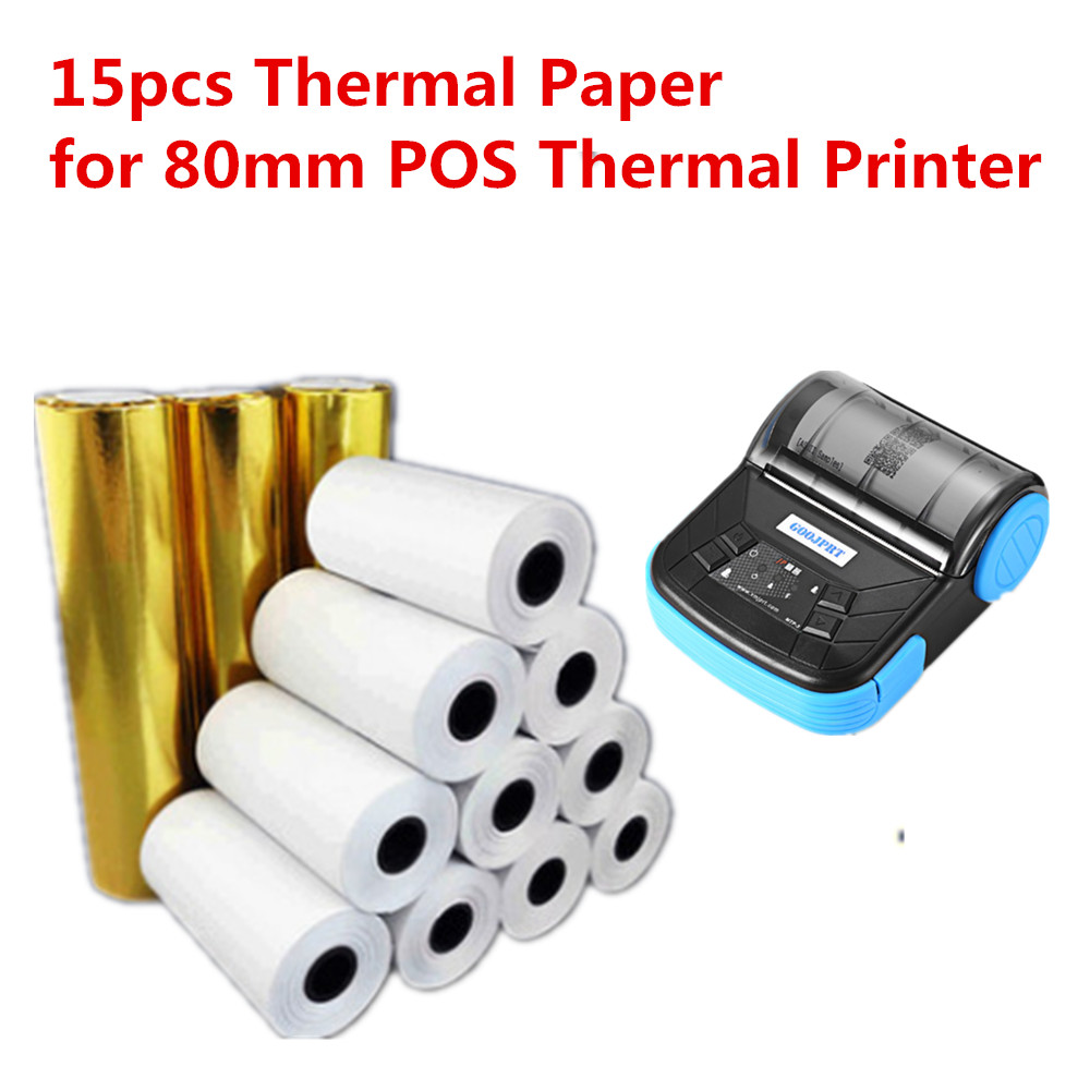 Free Shipping 15pcs 80x30mm Handheld Receipt Paper Roll For Mobile POS 80mm Bluetooth Thermal Printer, Coreless Cash Till Roll