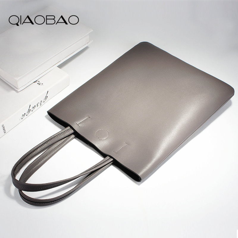 QIAO BAO 2017 New Cowskin Tote Female Genuine Leather Handbag Lady Simple Wild Students White Collar