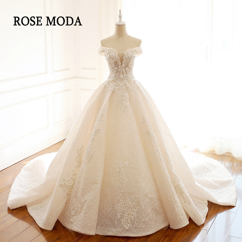 Royal Wedding Ball Gown: Rose Moda Luxury Lace Wedding Ball Gown Off Shoulder Bling