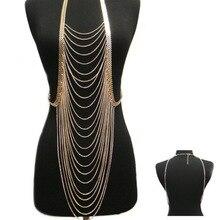Popular Mujeres de La Moda Collar de borlas de Múltiples capas Del Metal Del Rhinestone Cuerpo Cadena de Joyería Punky Chal 2 color de Plata o de Oro