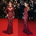Sexy Cheryl Cole Zuhair Murad in Cannes Red Carpet Dresses Bateau Beading See Through Long Sleeve Evening Dresses