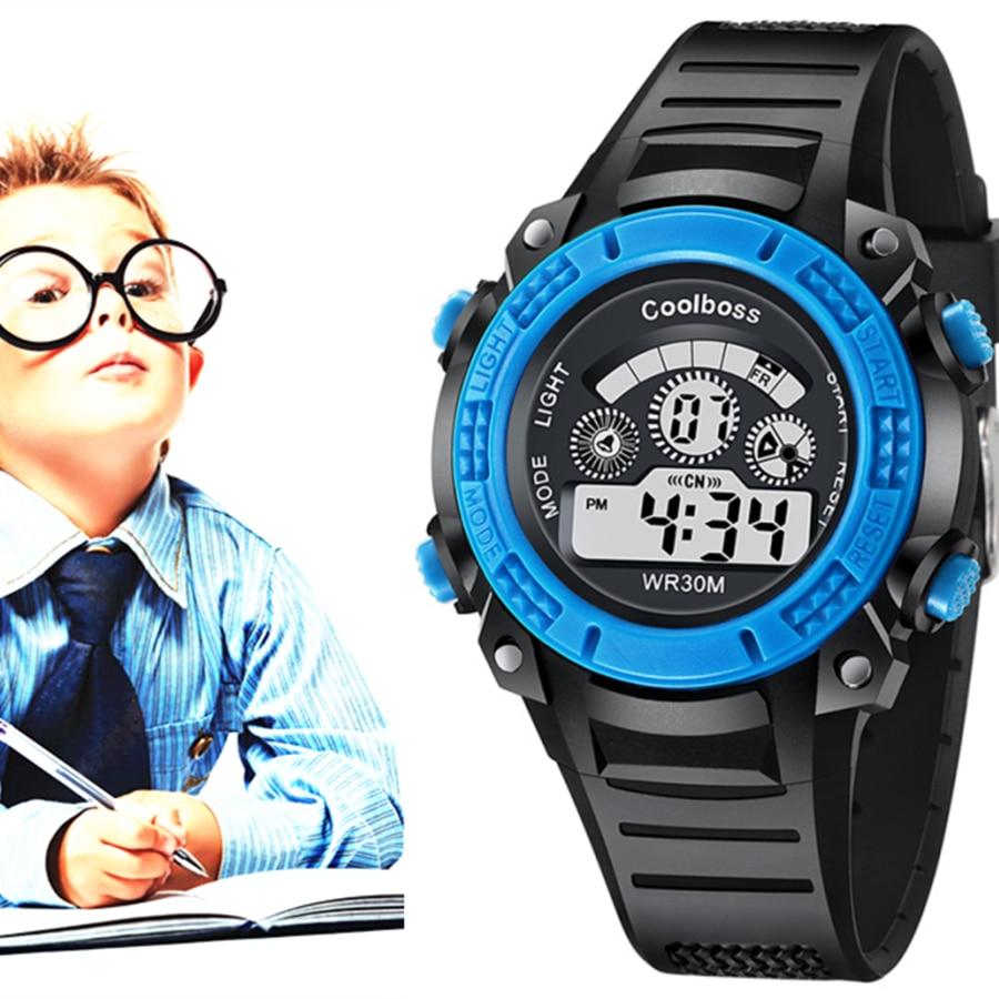 Coolboss Digital Children Watches Fashion Casual Dual Display Clock Black Band Rubber Alarm Boy Girl Baby Wrist Watch Waterproof
