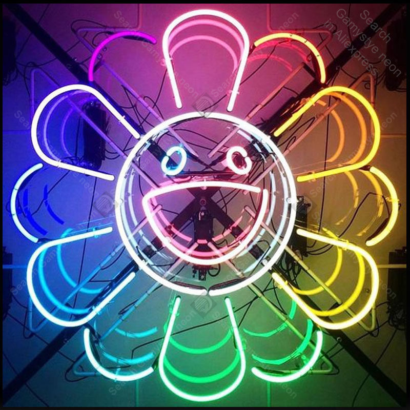 Neon Sign สำหรับดอกไม้สายรุ้ง Smile neon Light Sign ขนาดใหญ่ปากโรงแรม Store บาร์ป้ายหลอดนีออนไฟโฆษณาโคมไฟ