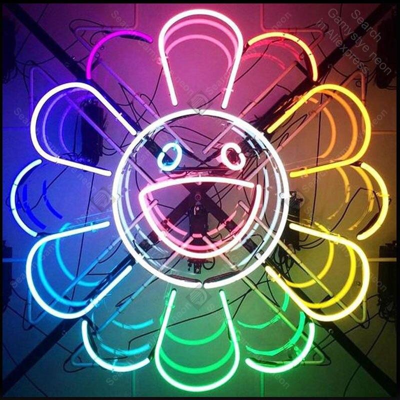 Neon znak dla tęczowy kwiat uśmiech znak światła neon duże usta Hotel Store wyświetlacz Bar Club znak rury Neon światła reklamować u nas państwo lampy