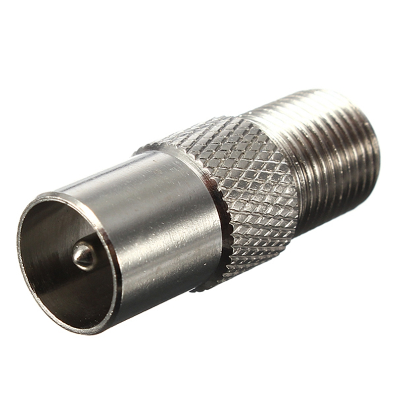 Silver F Type Female Screw Plug To TV Aerial RF Coaxial Male Connector Adapter mcx male to tv female rg174 cable 17cm coaxial adapter rf antenna dvb t