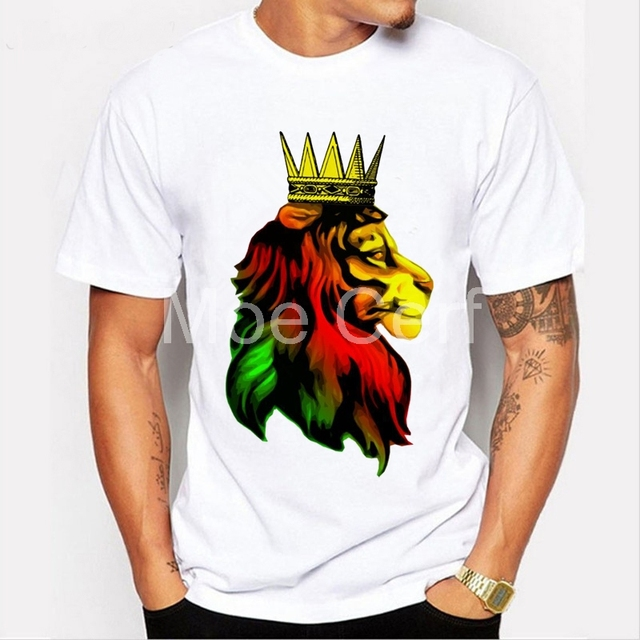 8f22066a83 reggae rasta lion hand painted style t shirt men 2018 summer short sleeve i  neck t shirt punk adult rasta Lion men Tops L17-74