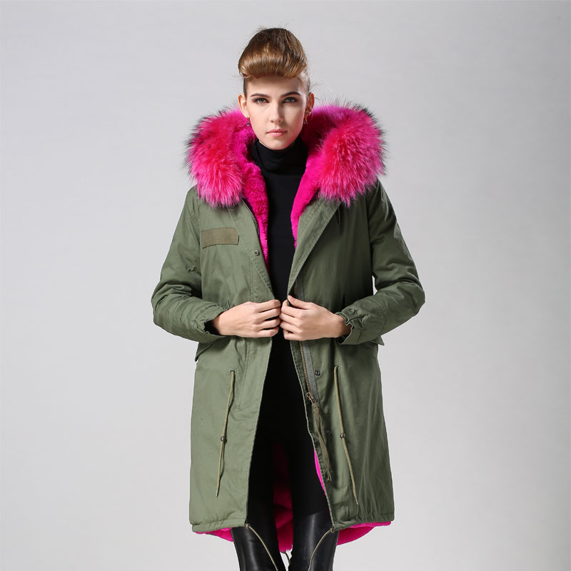 Green Parka With Pink Fur