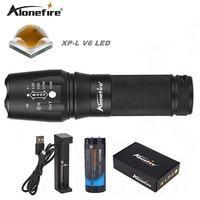 Alonefire e26 cree xp-l v6 v6 super bright led latarka led latarka wodoodporna 26650 mocna latarka dla rowerów oświetlenie