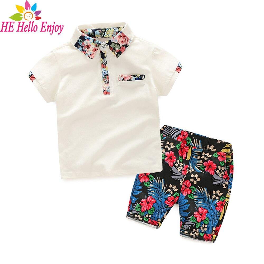 HE Hello Enjoy Boy Summer Clothing Set 2018 Boy Clothes Kids Short Sleeves Print Shirt+Flower Shorts 2pcs Suit Children Clothing