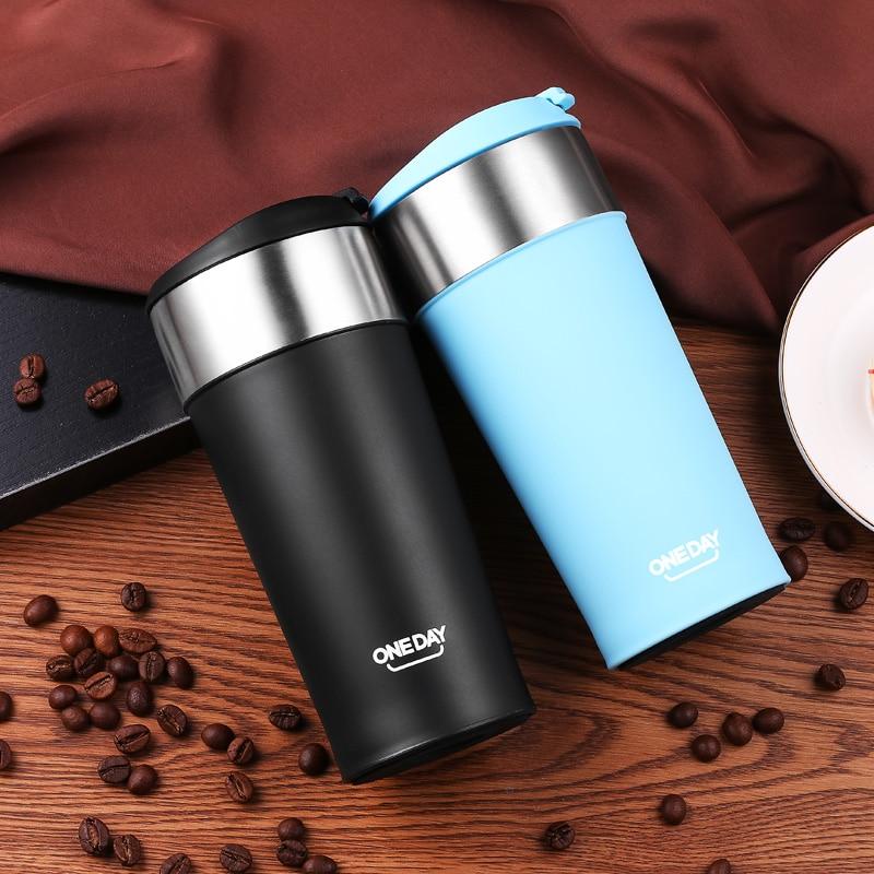 400ml Coffee Tumbler Stainless Steel Mug Coffee Bottle ThermoMug Insulated Thermal Mugs Auto Car Heating Tea