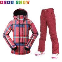 Gsou Snow Women Ski Jacket Pants Windproof Waterproof Snowboard Suits Women Super Warm Winter Bright Colorful