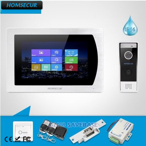 """HOMSECUR 7"""" Wired Video Door Phone Intercom System CCTV Camera Supported with Touch Screen Monitor  BC031-B + BM717-S"""