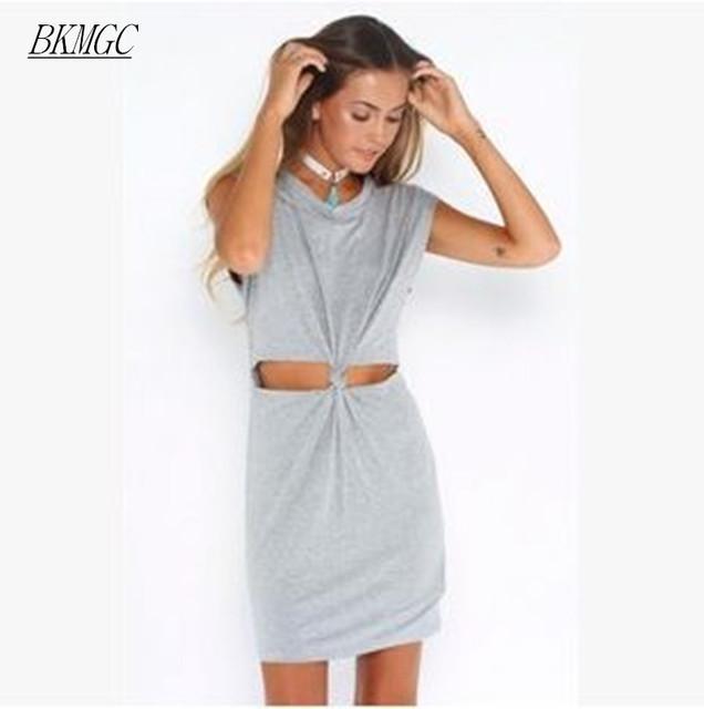 a0b04f31358 BKMGC 2017 Women Fashion Chic Short Sleeves T-shirt Dress Gray Waist Cutout  Knot Dress Comfy Mini Dres