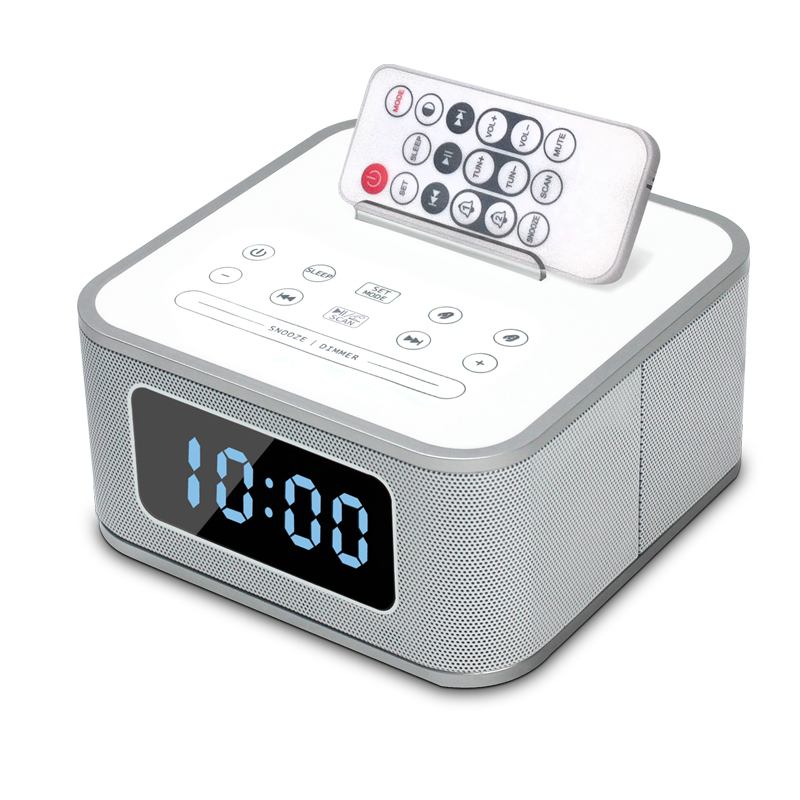 wireless remote control bluetooth music stereo speaker with alarm clock fm radio usb charging. Black Bedroom Furniture Sets. Home Design Ideas