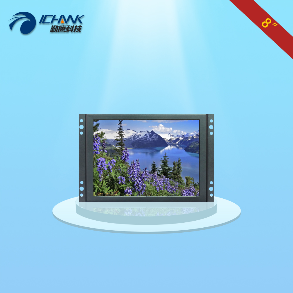 "K080TN-ABV/8""inch 1024x768 4:3 Metal Case BNC HD Wall-hanging Embedded Open Frame Industrial Computer Monitor LCD Screen Display"