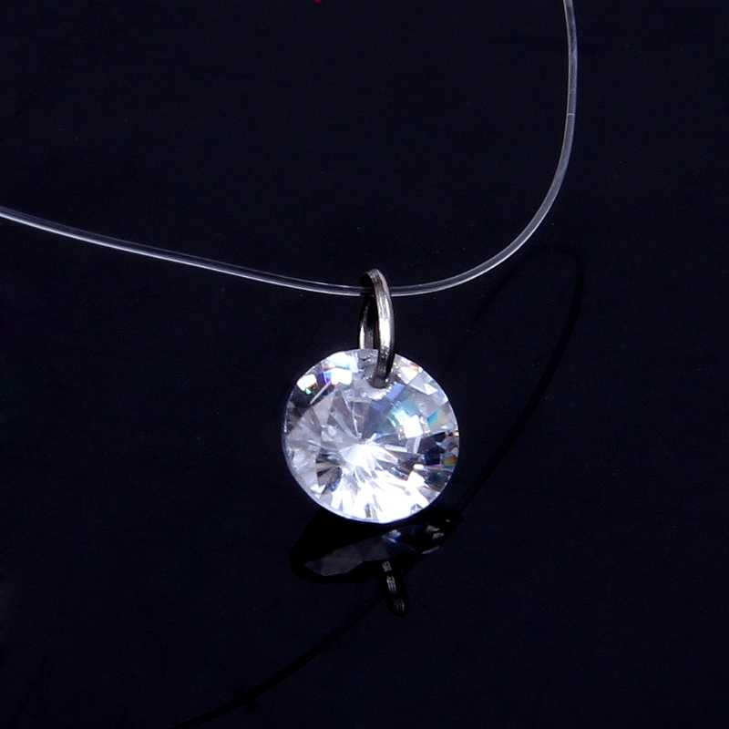 Invisible Chain Necklace Women Transparent Fishing Line Clavicle Chain Short Rhinestone Choker Necklace for Girl Fashion Jewelry