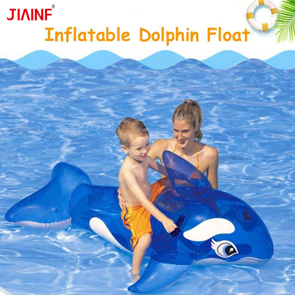 JIAINF Blue Inflatable Doilhin Floating Row Swimming Pool Float Island Party Toys For Kids Unicorn Water Float