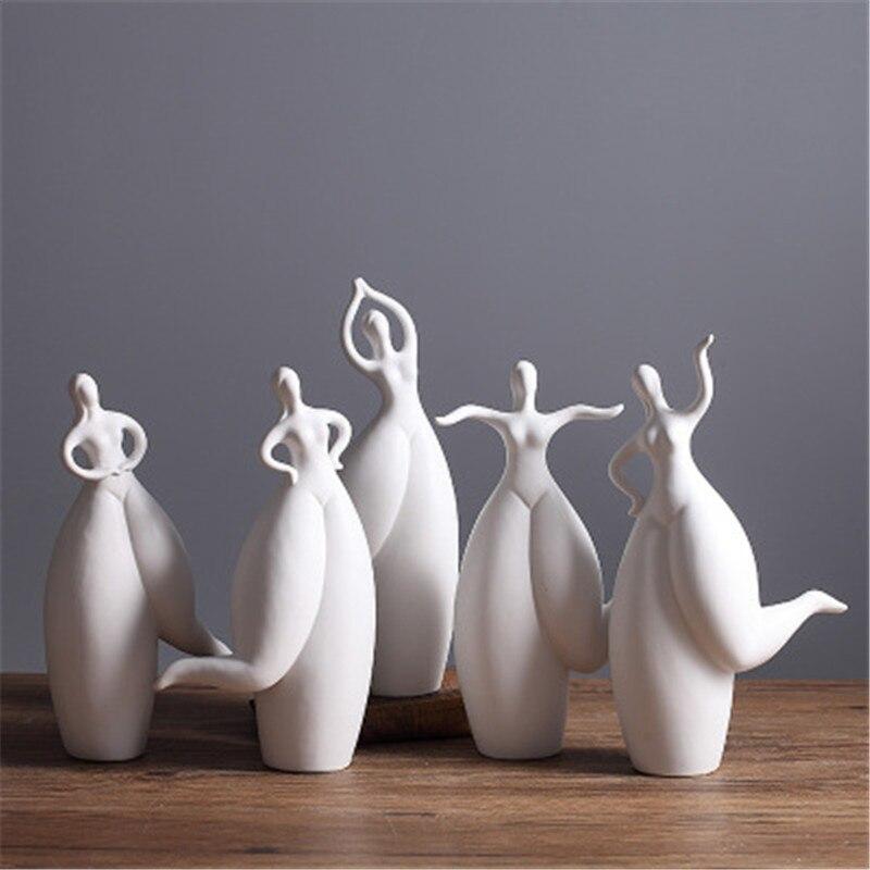 Ev ve Bahçe'ten Statü ve Heykelleri'de Modern Basit Soyut Yağ Dansçı Seramik Beyaz Eşya Figürleri El Sanatları Yaratıcı Yatak Odası Başucu Masa Süsleri X2088 title=
