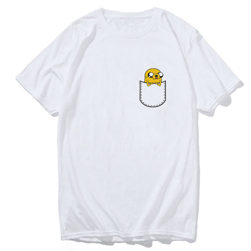 Cartoon Adventure Time Pocket Jake T Shirt Men/women Summer Cotton Adventure BMO Short Sleeve Funny Top Clothes