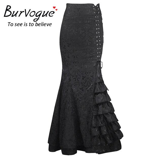 Burvogue 2017 estilo steampunk cintura alta bodycon largo faldas de cola de pescado larga falda sirena con cordones delgado vintage trompeta faldas