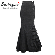 Burvogue Stylish Long Mermaid Skirt Steampunk High Waist Bodycon Long Maxi Skirts Fishtail Lace-Up Slim Vintage Trumpet Skirts