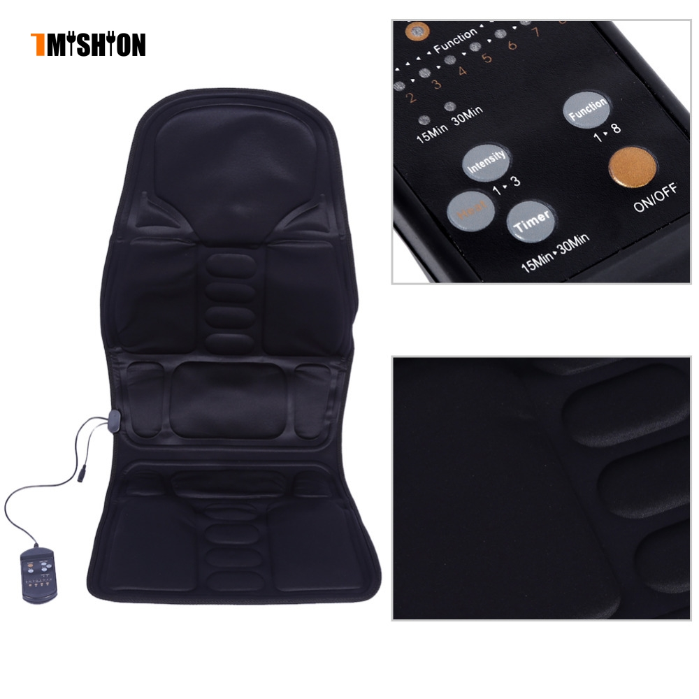 все цены на US Plug Electric Massager Chair Massage Car Seat Vibrator Body Back Neck massagem Cushion Heat Pad For leg Waist massageador