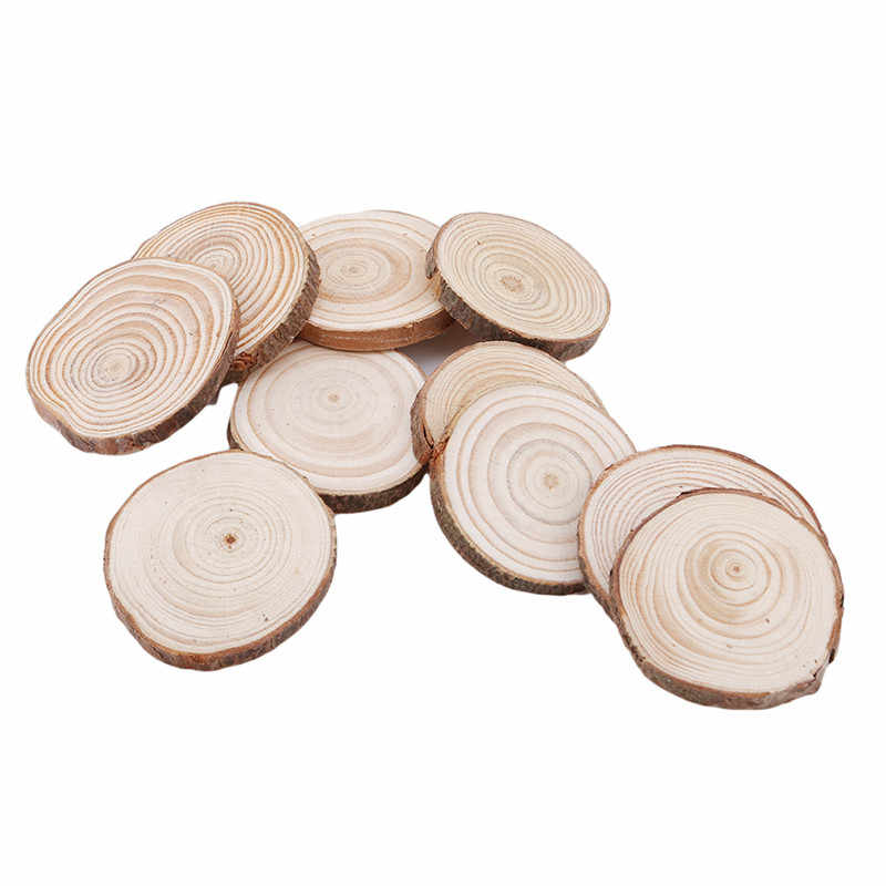 10pcs Wood Slices Round Log Discs Wedding Centerpieces Embellishments Crafts Round Wood Piece DIY Craft Home Decoration Ornament