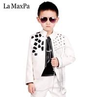 La MaxPa fashion boys kids baby leather blazers slim rivet white coat suit boys suit weddings children stage dance costume T014