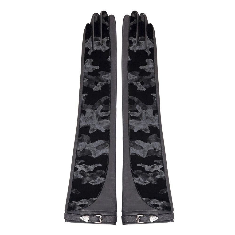 Женские длинные кожаные перчатки FIORETTO, теплые зимние перчатки с камуфляжным принтом, черные перчатки для вождения - 2