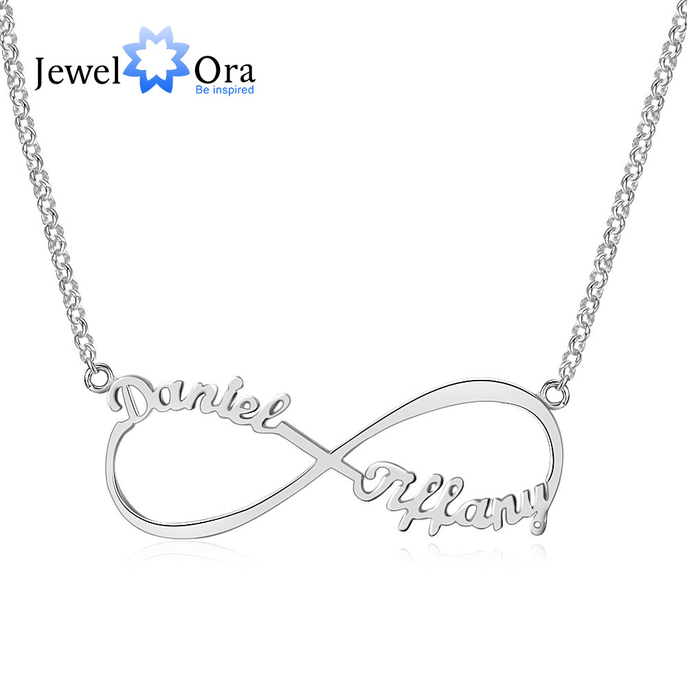 Customize Name Necklace Infinity Endless Love 925 Sterling Silver Necklaces Pendants Birthday Gifts For Her JewelOra