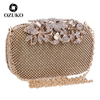 OZUKO Flower Crystal Evening Clutch Bag Clutches Women Wedding Purse Rhinestones Handbags Silver/Gold/Black chain Bag