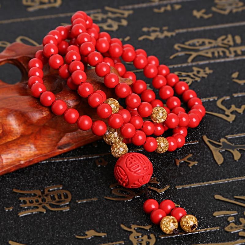 6-10mm Natural Round Cinnabar Beads Bracelet Rose Buddha Charm Rosary Bead Bangles For Women & Men Jewelry Gift men beaded bracelet red