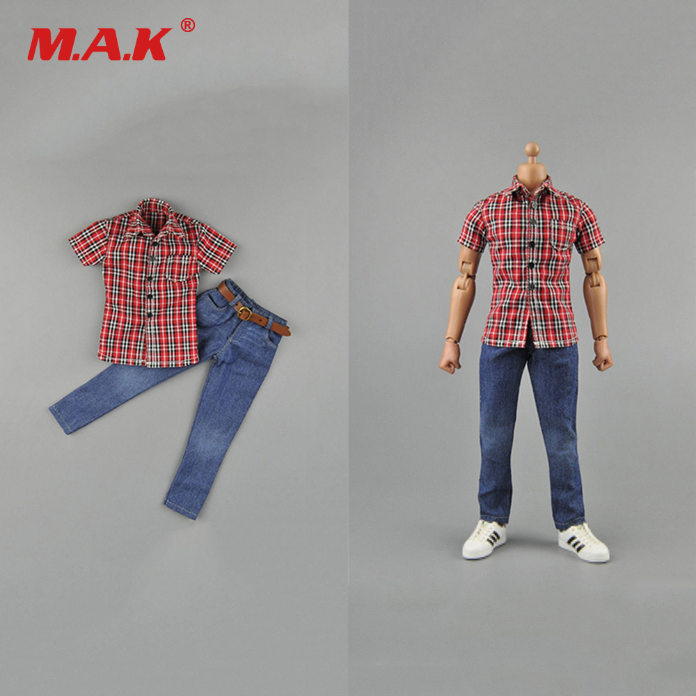 1/6 Scale Man Figure Clothes Set Red Plaid Shirt& Jean For 12 Action Figure Body