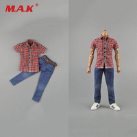 1/6 Scale Man Figure Clothes Set Red Plaid Shirt& Jean For 12