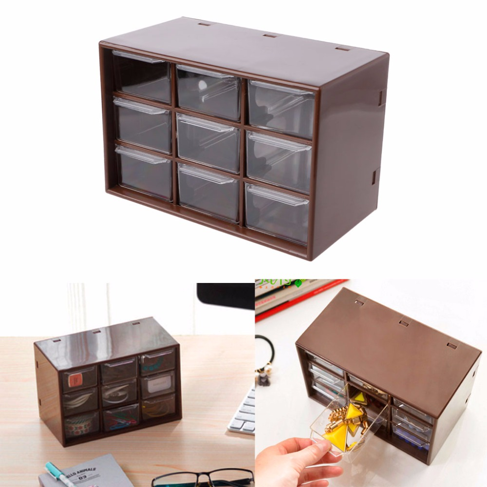 New 9 Drawer Plastic Storage Cabinet Desktop Makeup Bin ...