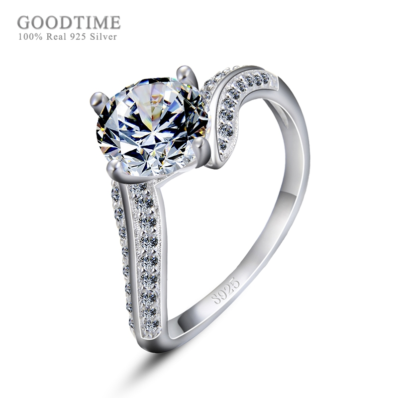 d0adff224 Fashion Pure 925 Sterling Silver Ring Rhinestone Jewelry Rings Shining Cubic  Zirconia Wedding Finger Rings For