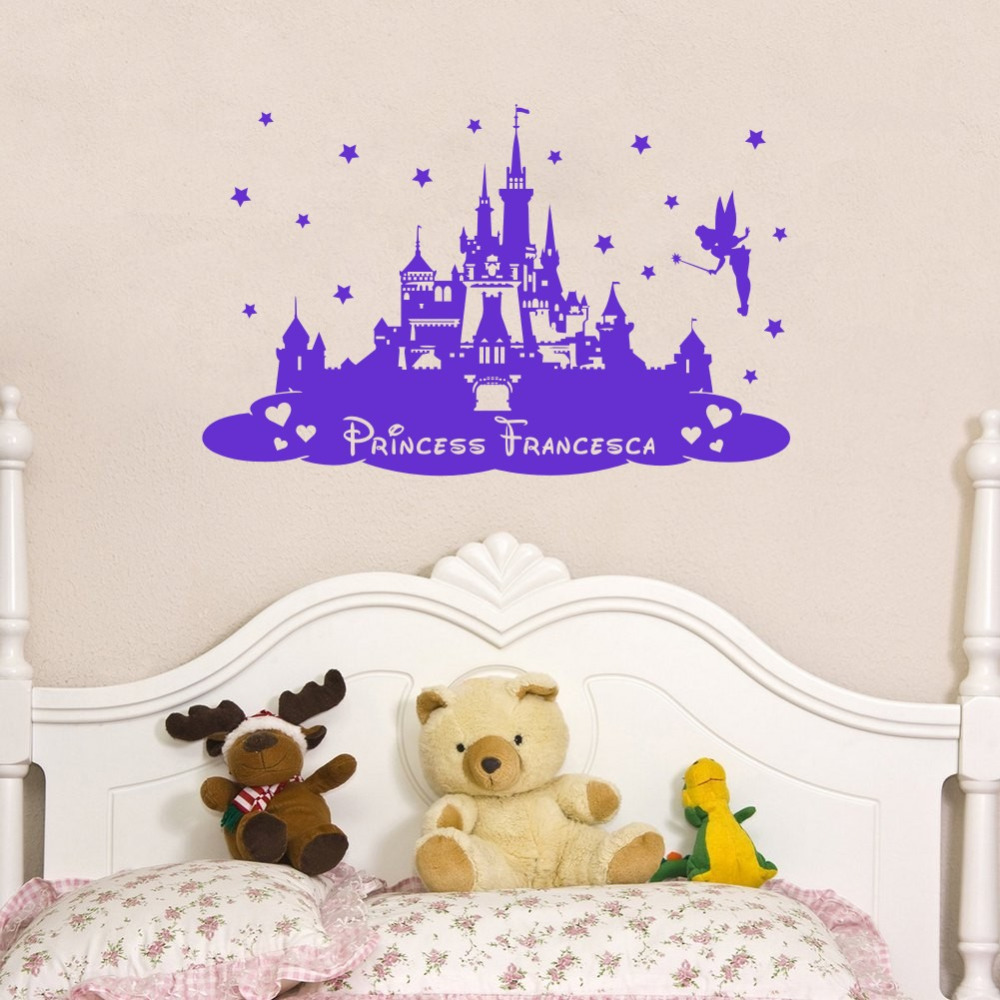 compare prices on princess girl names online shopping buy low custom personalized kids name princess castle nursery girls bedroom home decor art mural china