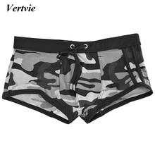 Vertvie New Men's Swimming Trunks Sexy Summer Swimwear Beach Shorts Camouflage Bathing Surf Briefs Swimsuit Man Sunga Underwear