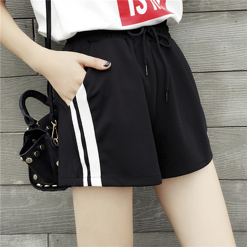 Women's Cotton Summer Shorts Fashion Side Striped Short Pants Loose Sweatpants Casual High Waist Shorts For Jogger