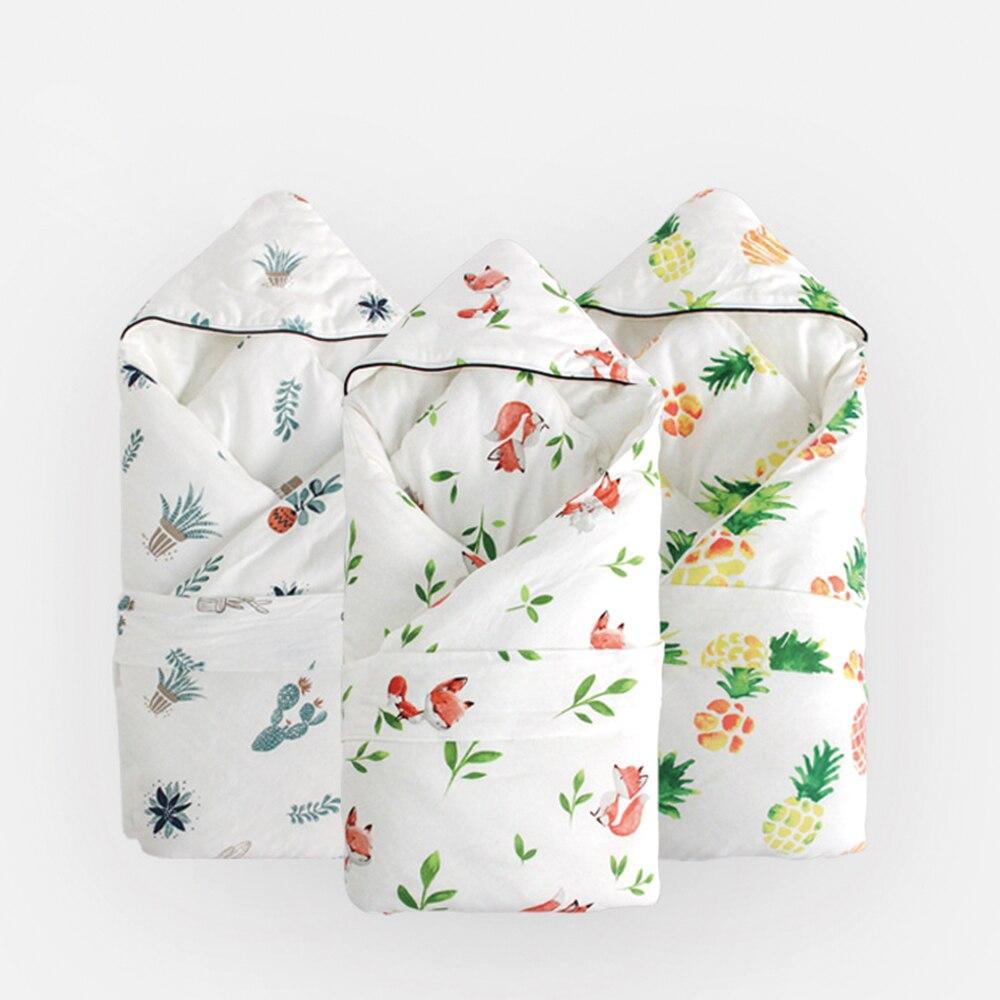 Mousseline Swaddle nouvelle couverture bébé 100% coton bébé Swaddle Anti-sursaut sac de sommeil nouveau-né couverture hiver épais détachable couette