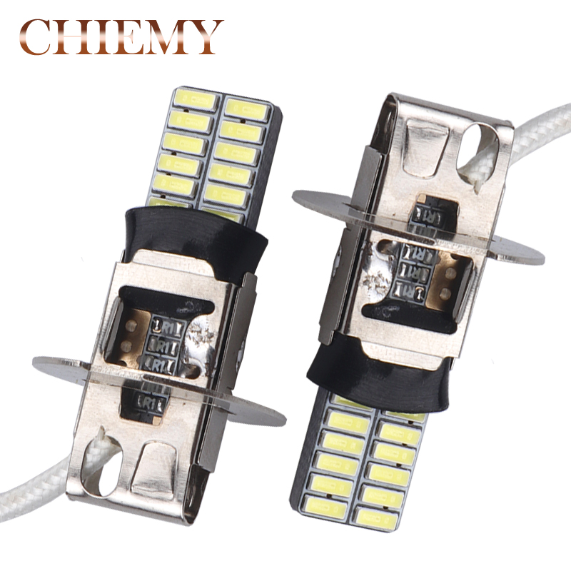 2PCS H3 LED High Power LED Fog Light Daytime Running Light Bulb 24 Chips 4014 SMD Fog Signal Turn Light Driving DRL Bulb Lamp